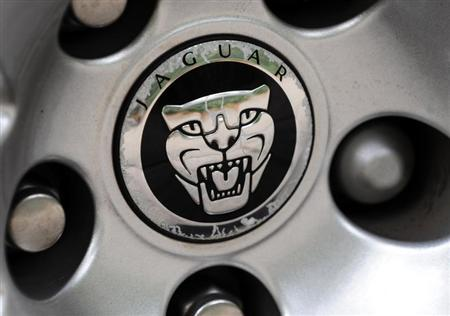 A Jaguar car logo is seen on a vehicle hubcap in central London in this September 24, 2009 file photo. REUTERS/Toby Melville/Files
