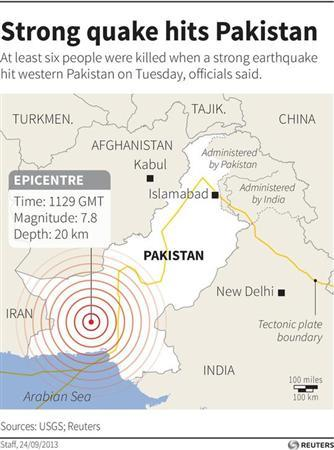Map locating the epicentre of a 7.8 magnitude earthquake. REUTERS