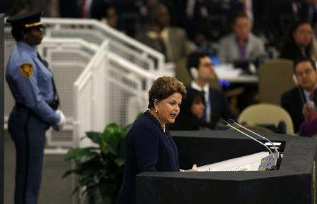 Brazil's President Dilma Rousseff addresses the 68th United Nations General Assembly at U.N. headquarters in New York, September 24, 2013. REUTERS-Shannon Stapleton