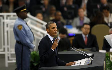 U.S. President Barack Obama addresses the 68th United Nations General Assembly at UN headquarters in New York, September 24, 2013. REUTERS/Shannon Stapleton