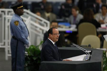 French President Francois Hollande addresses the 68th United Nations General Assembly at UN headquarters in New York, September 24, 2013. REUTERS/Shannon Stapleton