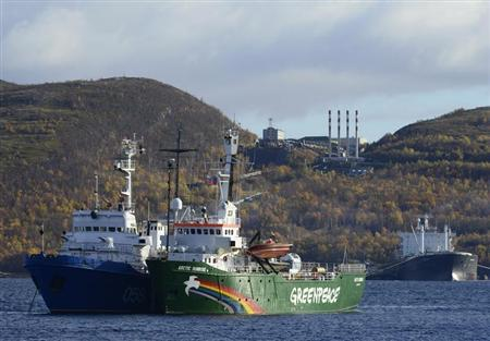 Greenpeace ship ''Arctic Sunrise'' is seen anchored outside the Arctic port city of Murmansk September 24, 2013. REUTERS/Stringer