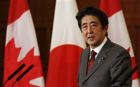 Japan's Prime Minister Shinzo Abe speaks during a news conference with his Canadian counterpart Stephen Harper (not pictured) on Parliament Hill in Ottawa September 24, 2013. REUTERS/Chris Wattie