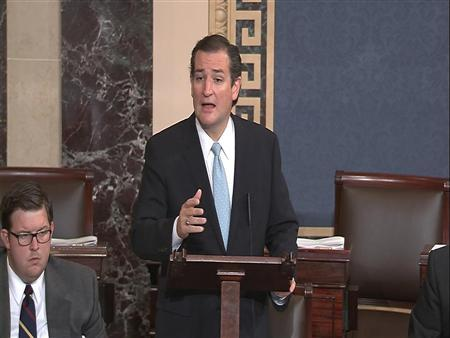 U.S. Senator Ted Cruz (R-TX), denounces ''Obamacare'' as he speaks on the Senate floor on Capitol Hill in Washington, in this still image taken from video, September 24, 2013. Cruz, the Tea Party-backed conservative, has been pushing to gut President Barack Obama's signature healthcare law by linking it to government funding in the new fiscal year. REUTERS/U.S. Senate TV/Handout
