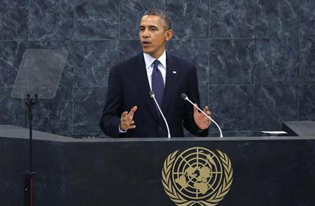 U.S. President Barack Obama addresses the 68th United Nations General Assembly at UN headquarters in New York, September 24, 2013. REUTERS/Mike Segar