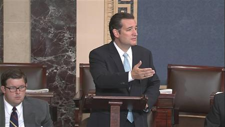 U.S. Senator Ted Cruz (R-TX), denounces ''Obamacare'' as he speaks on the Senate floor on Capitol Hill in Washington, in this still image taken from video, September 24, 2013. REUTERS/U.S. Senate TV/Handout via Reuters