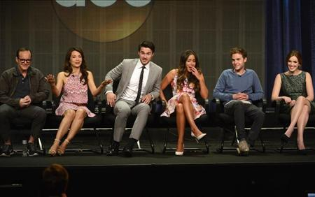 From L-R: Cast members Clark Gregg, Ming-Na Wen, Brett Dalton, Chloe Bennet, Iain De Caestecker and Elizabeth Henstridge participate in a panel for ''Marvel's Agents of S.H.I.E.L.D.'' during the Disney ABC Television Group sessions at the Television Critics Association summer press tour in Beverly Hills, California August 4, 2013. REUTERS/Phil McCarten