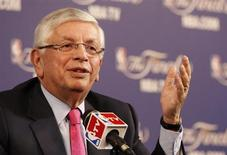 NBA Commissioner David Stern holds a news conference before Game 1 of the NBA Finals basketball playoff in Miami, Florida June 6, 2013 in this file picture. REUTERS/Andrew Innerarity
