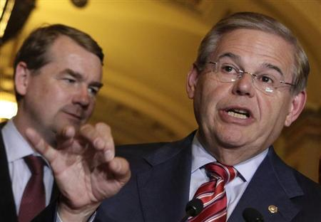 Senate Foreign Relations Committee Chairman Robert Menendez (D-NJ) speaks to the media after the Senate passed the immigration bill on Capitol Hill in Washington June 27, 2013. REUTERS/Yuri Gripas