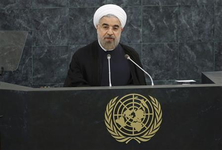 Iran's President Hassan Rouhani addresses the 68th United Nations General Assembly at UN headquarters in New York, September 24, 2013. REUTERS/Ray Stubblebine