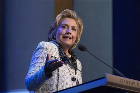 Former U.S. Secretary of State and former first lady Hillary Clinton speaks during a Clinton Global Initiative (CGI) conference in New York September 25, 2013. REUTERS/Lucas Jackson