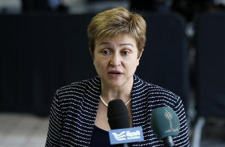European Commissioner for International Cooperation, Humanitarian Aid and Crisis Response Kristalina Georgieva speaks as she arrives at an European Union foreign ministers meeting in Luxembourg April 22, 2013. REUTERS/Francois Lenoir