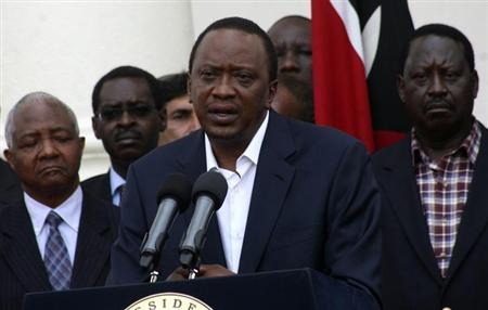 Kenya's President Uhuru Kenyatta addresses the nation on the Westgate shopping mall attack in the capital Nairobi September 22, 2013. REUTERS/Stringer