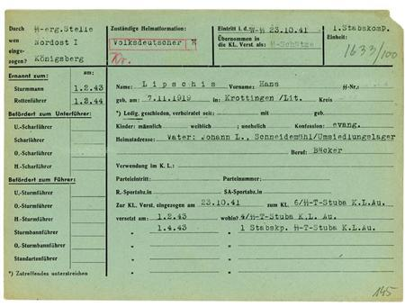 The 1941 military service record of SS soldier Hans Lipschis is shown in this undated handout photograph provided by the Muzeum Auschwitz-Birkenau. Mandatory Credit REUTERS/Muzeum Auschwitz-Birkenau/Handout via Reuters/Files