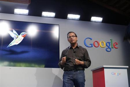 Amit Singhal, senior vice president of search at Google, introduces the new 'Hummingbird' search algorithm at the garage where the company was founded on Google's 15th anniversary in Menlo Park, California September 26, 2013. REUTERS/Stephen Lam