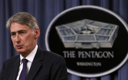 British Defense Secretary Philip Hammond and U.S. Defense Secretary Chuck Hagel (not pictured) hold a joint news conference at the Pentagon in Washington, May 2, 2013. REUTERS/Gary Cameron