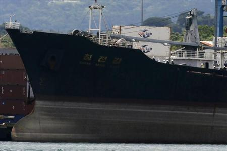North Korean container ship ''Chong Chon Gang'' is seen at the Manzanillo International container terminal dock in Colon City August 14, 2013. REUTERS/Carlos Jasso