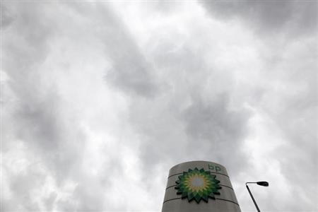A BP logo is seen at a petrol station in London May 15, 2013. REUTERS/Stefan Wermuth