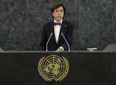 Elio Di Rupo, Prime Minister of Belgium, speaks during the 68th Session of the United Nations General Assembly at UN headquarters in New York, September 26, 2013. REUTERS/Stan Honda/Pool