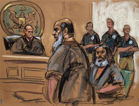 Terror suspects Khalid al-Fawwaz (2nd L) and Adel Abdul Bary (3rd L) are seen in this courtroom sketch during a court appearance in Manhattan Federal Court in New York October 6, 2012. REUTERS/Jane Rosenberg