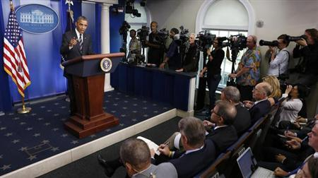 U.S. President Barack Obama speaks from the Briefing Room of the White House in Washington September 27, 2013. REUTERS/Kevin Lamarque