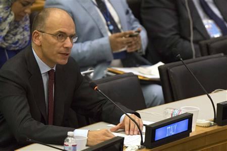 Italy's Prime Minister Enrico Letta speaks during a news conference following his address to the high-level meeting on Islamist groups in the Sahel region, on the sidelines of the United Nations General Assembly at the U.N. Headquarters in New York September 26, 2013. REUTERS/Brendan McDermid
