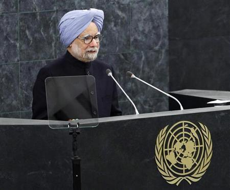 India's Prime Minister Manmohan Singh addresses the 68th United Nations General Assembly at U.N. headquarters in New York, September 28, 2013. REUTERS/Adam Hunger