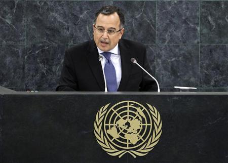 Egypt's Minister of Foreign Affairs Nabil Fahmy addresses the 68th United Nations General Assembly at UN headquarters in New York, September 28, 2013. REUTERS/Adam Hunger