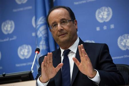 French President Francois Hollande speaks during a news conference during the UN General Assembly at UN Headquarters in New York September 24, 2013. REUTERS/Eric Thayer