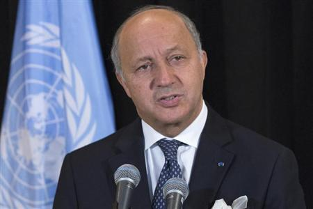French Foreign Minister Laurent Fabius speaks during a news conference following his address to the high-level meeting on Islamist groups in the Sahel region, on the sidelines of the United Nations General Assembly at the U.N. Headquarters in New York September 26, 2013. REUTERS/Brendan McDermid