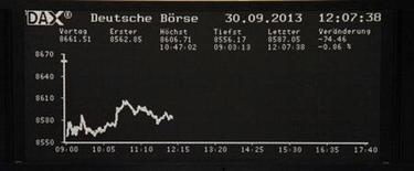 Les Bourses européennes sont dans le rouge à la mi-séance, l'aversion au risque dictant la tendance sur les marchés face à l'incertitude politique qui règne en Italie et aux Etats-Unis. Vers 10h35 GMT, le CAC 40 cède 1,24% à 4.135 points. À Francfort, le Dax perd 1,02% et à Londres, le FTSE recule de 0,86%. /Photo prise le 30 septembre 2013/REUTERS