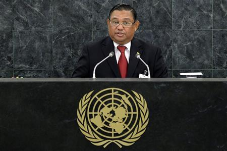 Myanmar's Minister of Foreign Affairs Wunna Maung Lwin addresses the 68th session of the United Nations General Assembly in New York September 30, 2013. REUTERS/Adrees Latif