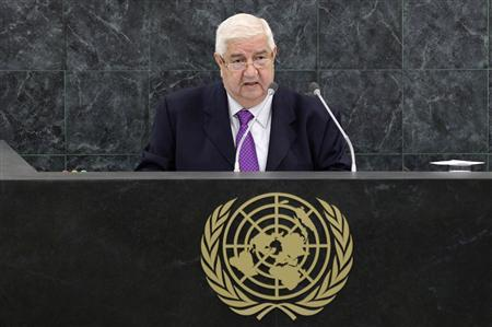 Syrian Foreign Minister Walid al-Moualem addresses the 68th session of the United Nations General Assembly in New York September 30, 2013. REUTERS/Adrees Latif (UNITED STATES - Tags: POLITICS)