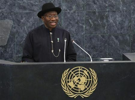 Nigeria's President Goodluck Jonathan addresses the 68th United Nations General Assembly at U.N. headquarters in New York, September 24, 2013. REUTERS/Mike Segar