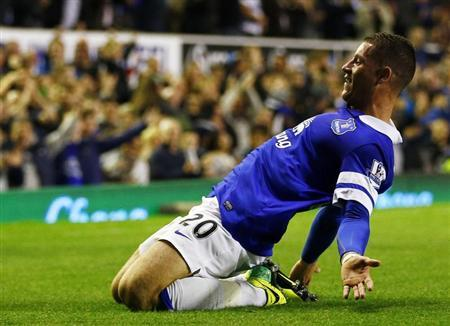 Everton's Ross Barkley celebrates his goal against Newcastle United during their English Premier League soccer match at Goodison Park in Liverpool, northern England, September 30, 2013. REUTERS/Darren Staples