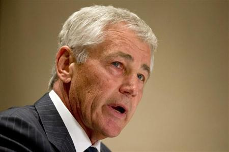 U.S. Secretary of Defense Chuck Hagel speaks to the media about the U.S. government shutdown, at his hotel in Seoul October 1, 2013. REUTERS/Jacquelyn Martin/Pool