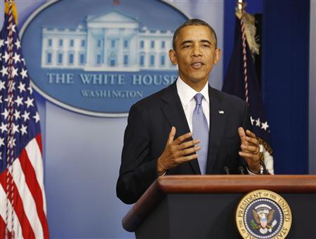 U.S. President Barack Obama makes a statement to the press in the briefing room of the White House in Washington September 30, 2013. REUTERS/Larry Downing