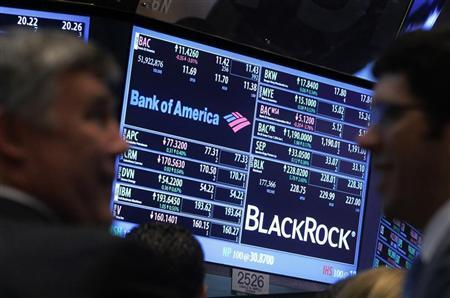 A screen displays the trading price for Bank of America and Black Rock stocks on the floor of the New York Stock Exchange, January 17, 2013. REUTERS/Brendan McDermid