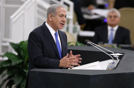 Benjamin Netanyahu, prime minister of Israel, addresses the 68th United Nations General Assembly at the U.N. headquarters in New York, October 1, 2013. REUTERS/Mike Segar
