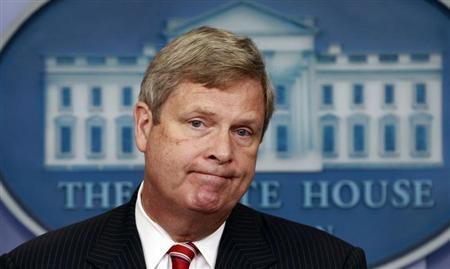 U.S. Agriculture Secretary Tom Vilsack listens to a question during a press briefing about the drought in the midwest at the White House in Washington July 18, 2012. REUTERS/Kevin Lamarque