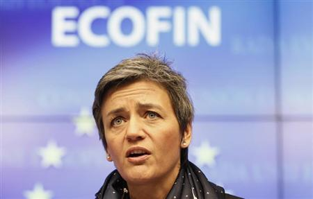 Danish Economy Minister Margrethe Vestager, whose country currently holds the rotating Presidency of EU, holds a news conference at the end of an EU finance ministers meeting in Brussels February 21, 2012. REUTERS/Sebastien Pirlet