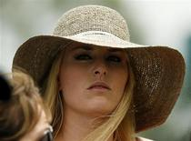 Skier Lindsey Vonn, girlfriend of Tiger Woods, watches first round play in the 2013 Masters golf tournament at the Augusta National Golf Club in Augusta, Georgia, April 11, 2013. REUTERS/Mark Blinch