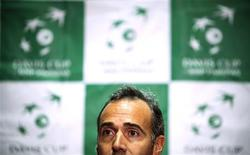 Team Spain's head coach Alex Corretja attends a news conference before the Davis Cup tennis tournament in Vancouver, British Columbia January 29, 2013. REUTERS/Ben Nelms