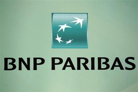 French BNP Paribas bank logo is seen at their presentation of their 2010 annual results in Paris in this February 17, 2011 file photo. REUTERS/Charles Platiau