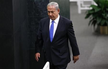Israel's Prime Minister Benjamin Netanyahu walks from the podium after delivering his address to the 68th United Nations General Assembly at U.N. headquarters in New York October 1, 2013. REUTERS/Mike Segar
