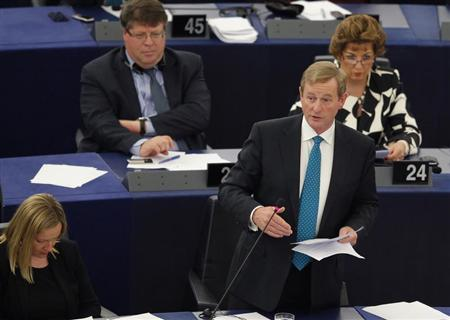 Ireland's Prime Minister Enda Kenny addresses the European Parliament during a debate on the results of the Irish presidency of the EU for the last six months, in Strasbourg, July 2, 2013. REUTERS/Vincent Kessler