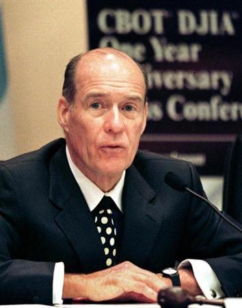 Patrick H. Arbor, president and CEO of the Chicago Board of Trade (CBOT), marks the one-year anniversary of the Dow futures and futures-options contracts at the CBOT in Chicago October 6, 1998.