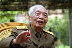 General Vo Nguyen Giap speaks during an interview in Hanoi, March 30, 2004. REUTERS/Kham