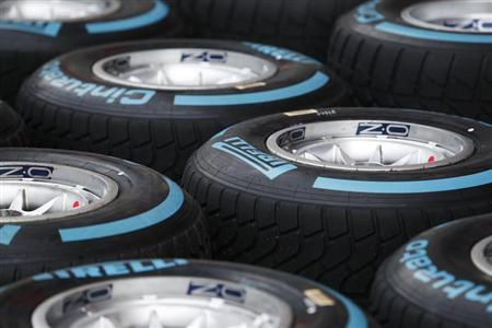 Pirelli ''Full Wet'' Formula One tyres are pictured in the pit ahead of the Singapore F1 Grand Prix September 18, 2013. REUTERS/Tim Chong