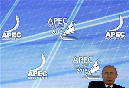 Russia's President Vladimir Putin speaks at the Asia-Pacific Economic Cooperation (APEC) CEO Summit in Nusa Dua, on the Indonesian resort island of Bali October 7, 2013. REUTERS/Edgar Su